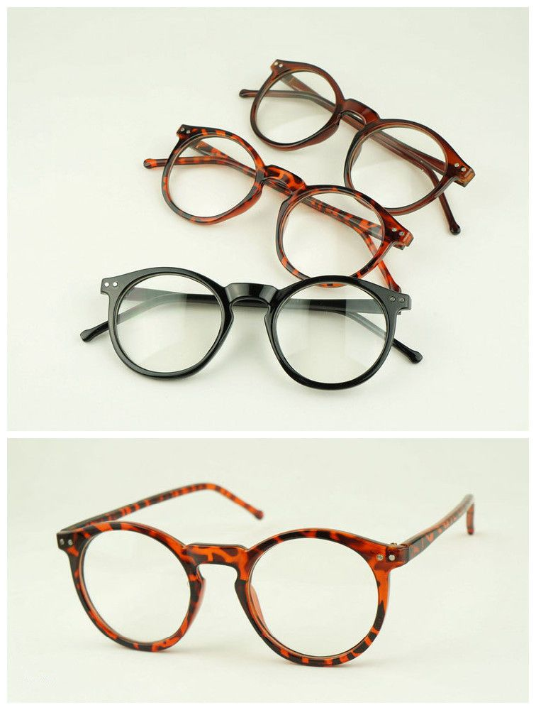 dcd35c5e7038 47mm Vintage Oval Eyeglass Frame Man Women Round Plain Glass Full-Rim  Spectacles