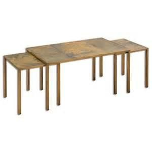 Trio Versatile Bunching Tables In Gold Leafed Iron With Genuine