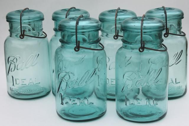 antique vintage glass canning jars w/ 1908 patent dates, bail lid ...