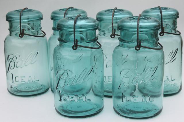 Antique Vintage Glass Canning Jars W 1908 Patent Dates Bail Lid