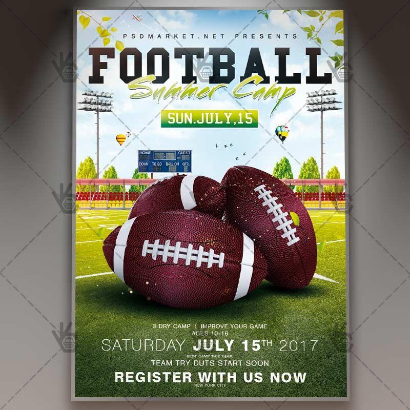 Football Summer Camp Premium Flyer Psd Template En 2020 Folletos