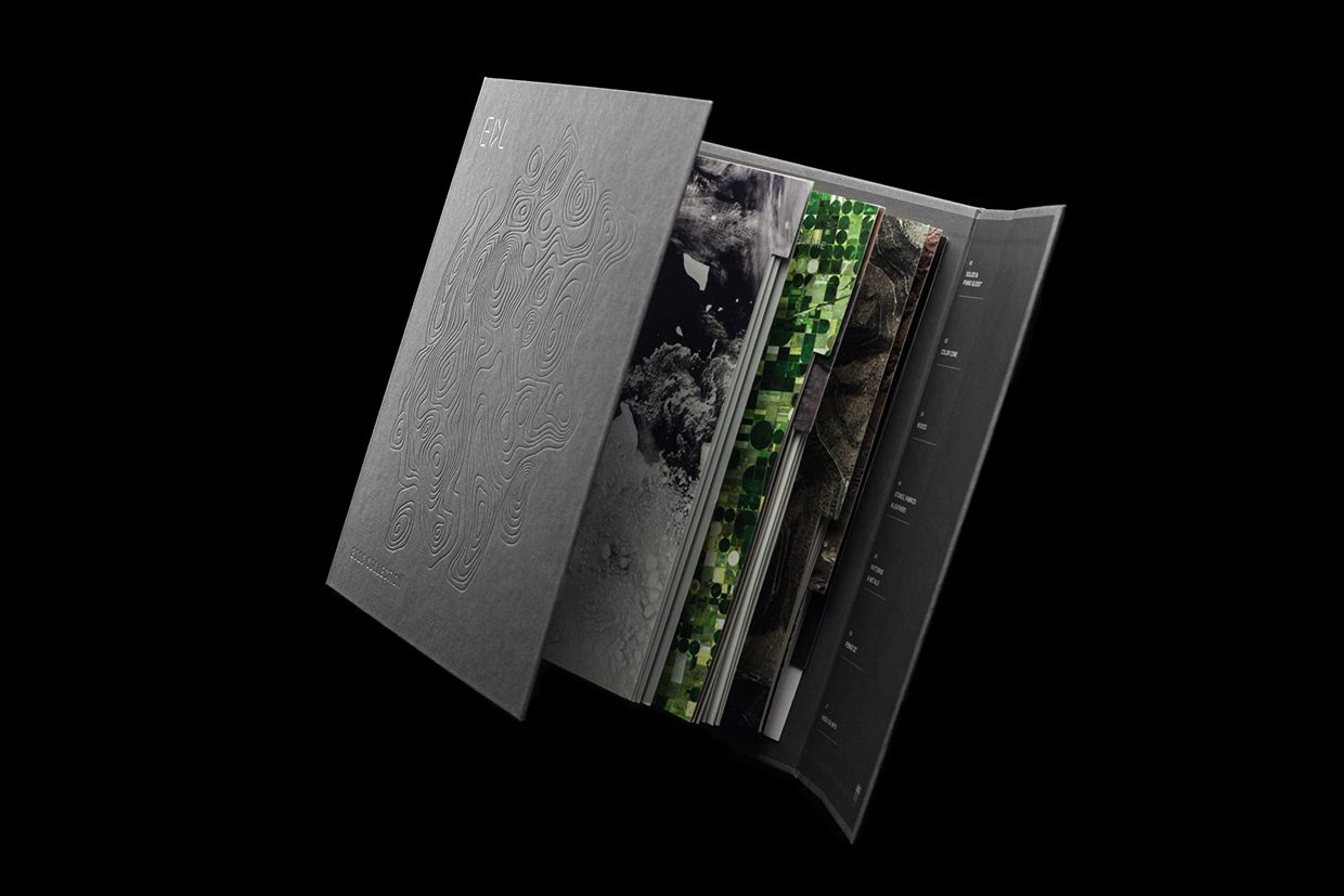 Blind embossed and silver block foiled brochure for high pressure laminate…