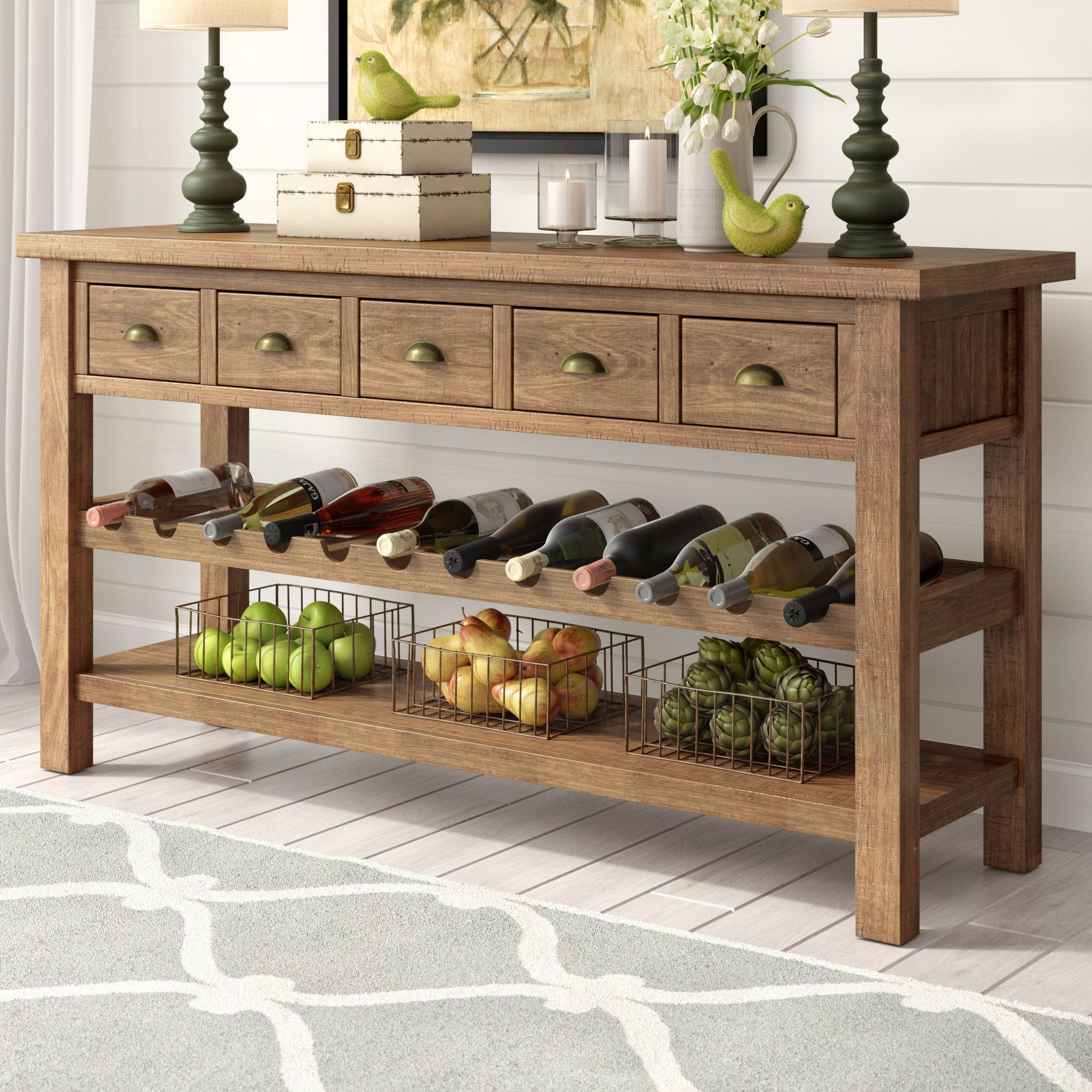 Buffet Table Decor, Dining Room Buffet Table With Wine Rack