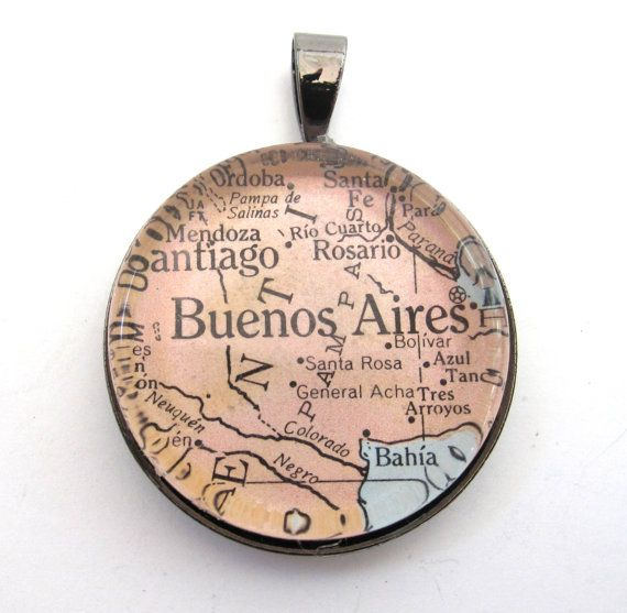 Vintage Map Pendant of Buenos Aires Argentina by CarpeDiemHandmade, $10.00