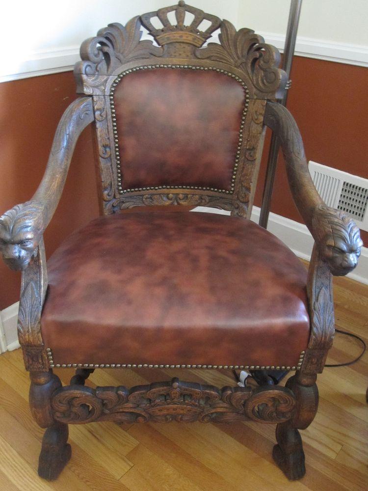 1800u0027s King George III Solid Oak Lion Chair Throne Gothic Rare Antique  Tudor Neo
