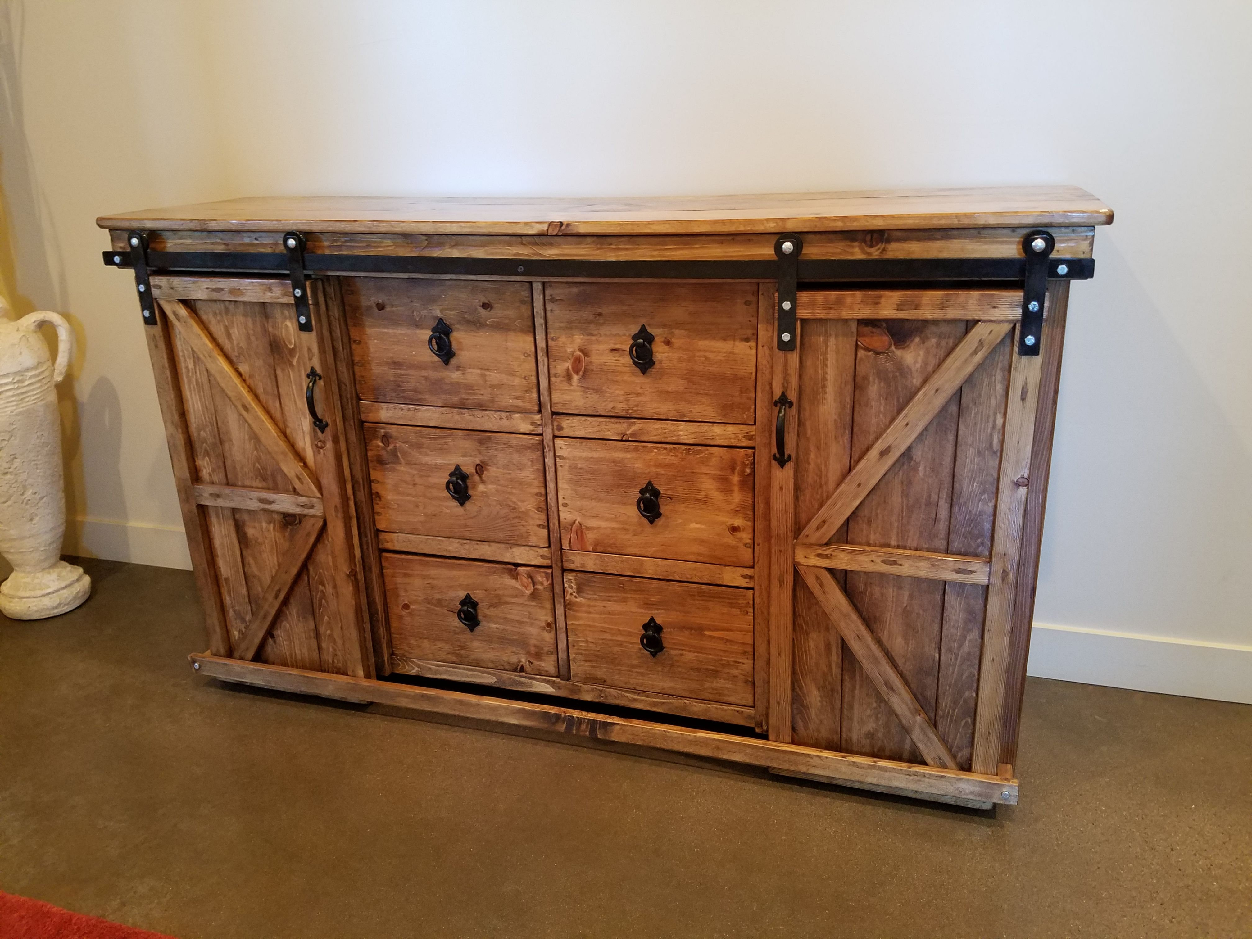 Rustic entry or dresser with British style sliding