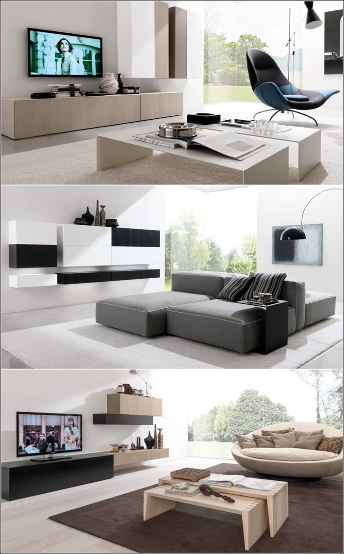Tv Unit In Living Room: Contemporary Wall Units From Euromobil