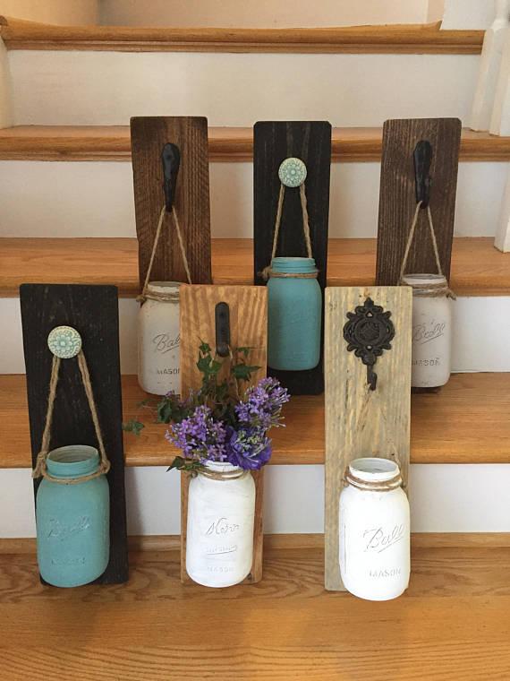 Farmhouse Mason Jar Wall Sconce Vase Rustic Diy