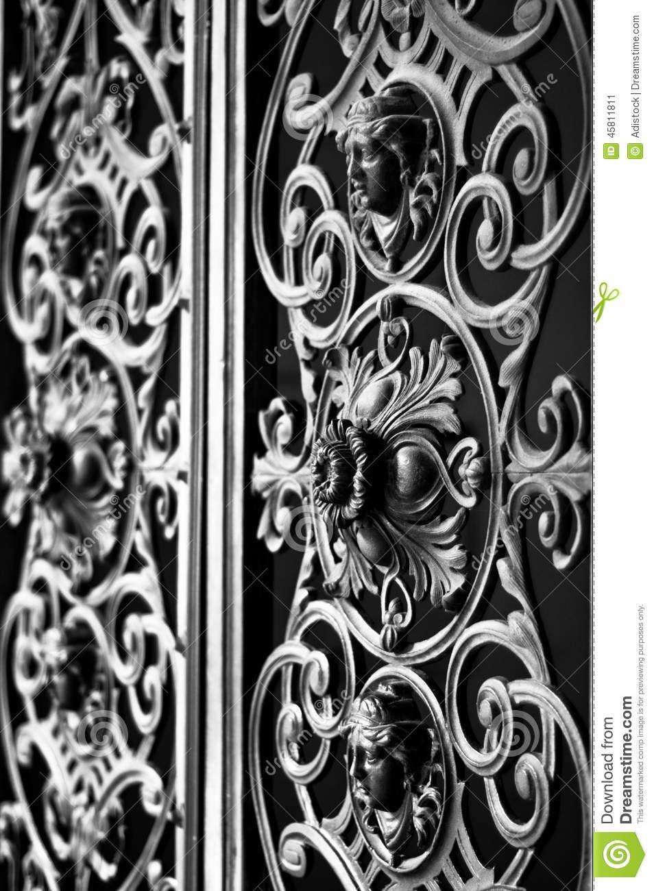 Decorative metal gate ornament. Antique iron door with classic ornaments. & Decorative metal gate ornament. Antique iron door with classic ...