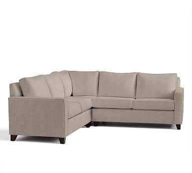 Cameron Square Arm Upholstered 3-Piece L-Shaped Corner Sectional, Polyester Wrapped Cushions, Sunbrella(R) Performance Sahara Weave Mushroom