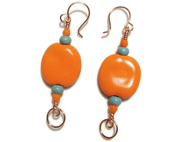 Check out Bright Orange Kazuri Bead Earrings Orange and Turquoise Bright Copper and Orange Kazuri on riversedgecreations