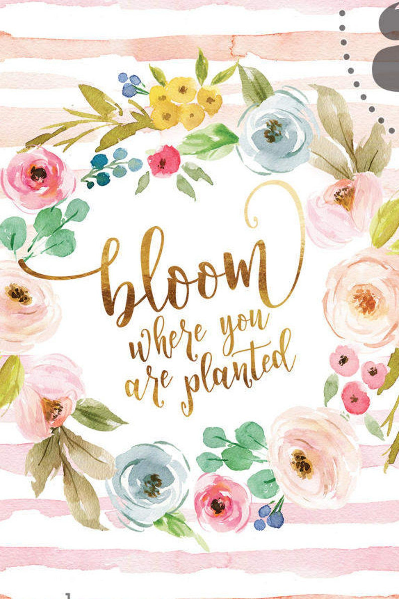 Bloom where you are planted in fresh watercolor wash with | Etsy