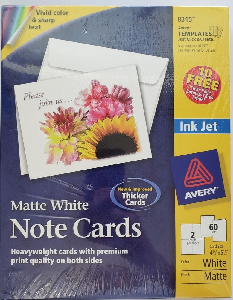 avery matte white note cards for inkjet printers 4 1 4 x 5 1 2 60