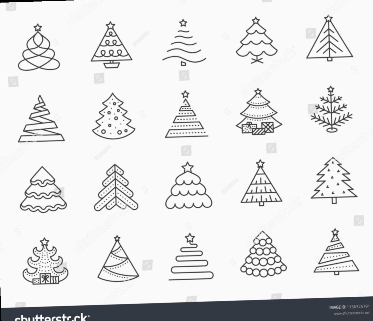 8 Christmas Tree Simple Elegant In 2020 Christmas Tree Drawing Christmas Tree Painting Simple Christmas Tree