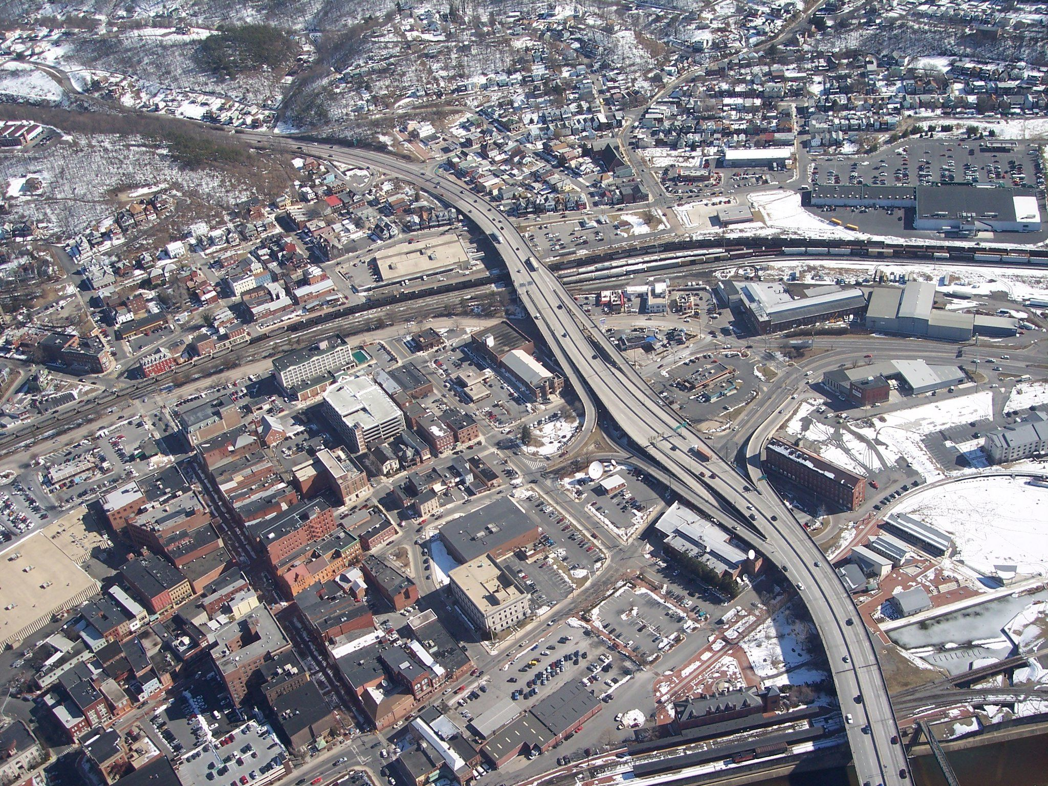 Cumberland Maryland aerial view of downtown area