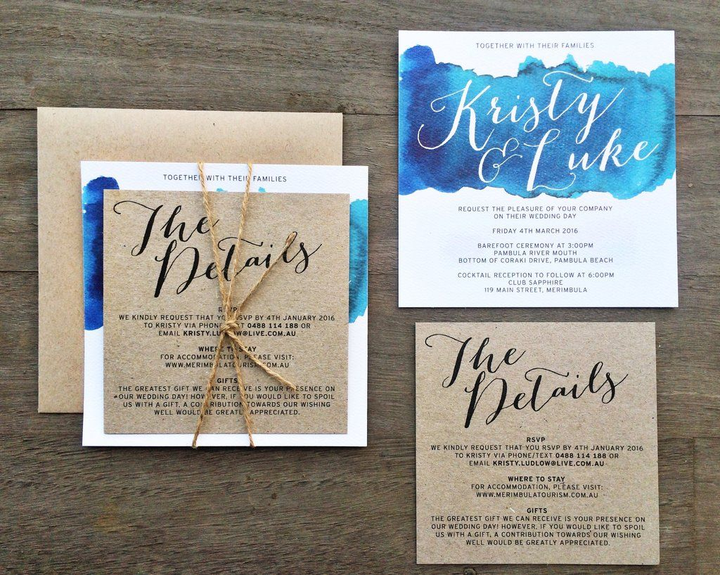 blue watercolour watercolour invitation wedding engagement kraft ...