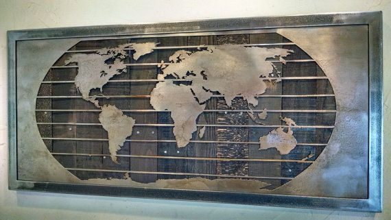 Hey i found this really awesome etsy listing at httpsetsy metal world map wall art sculpture 3 sizes reclaimed wood steel gumiabroncs Images