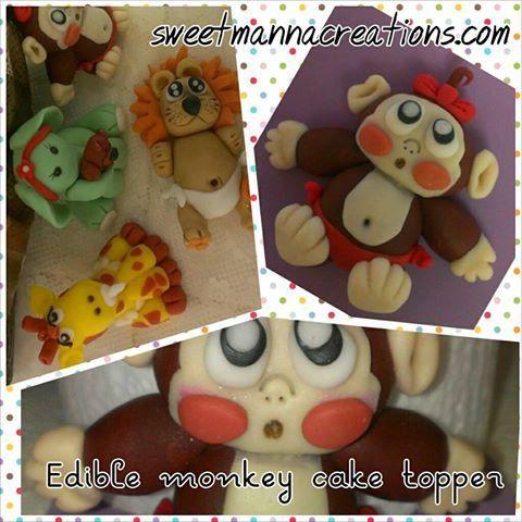 1 Baby Monkey Cake Topper Size 4.5 X 3 X 3 by SweetMannaCreations, $20.00