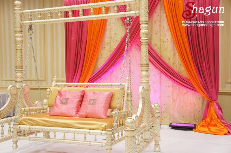 Mehndi Backdrop Diy : Orange and pink theme mehndi decor wedding desi shagun