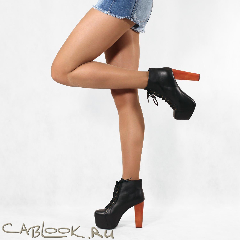 Стильные ботильоны женские JEFFREY LITA black calf в магазине дизайнерской обуви CabLOOK.ru