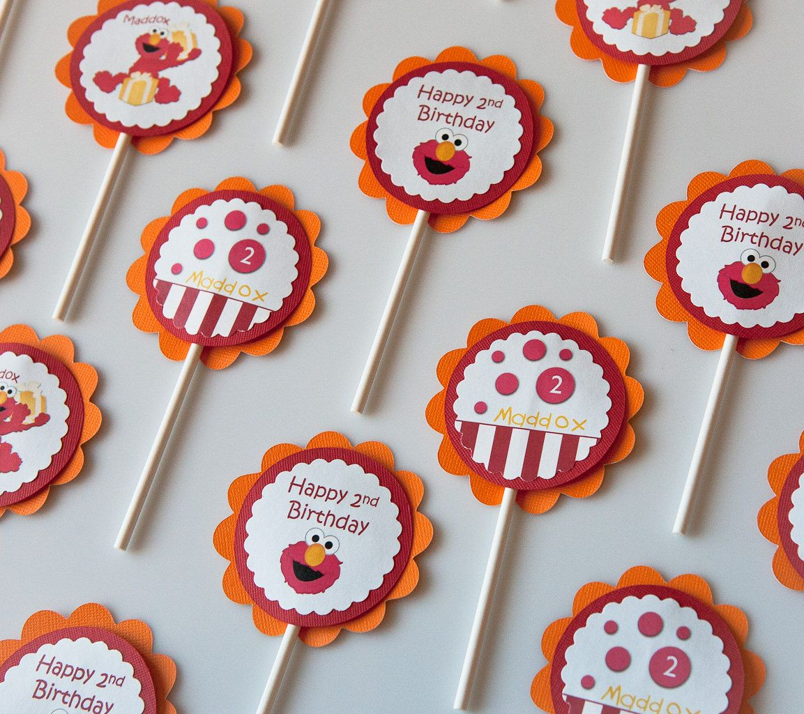 Sesame Street Cupcake Toppers Elmo Birthday Party by CupcakeDream