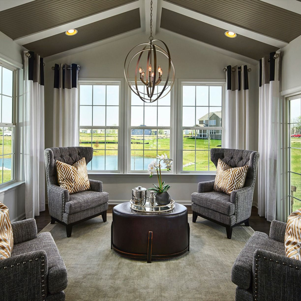 Transitional Living Room Design Features Neutral Gray Tones Plush Textures Ci Transitional Living Room Design Transitional Living Rooms Living Room Designs #neutral #transitional #living #room