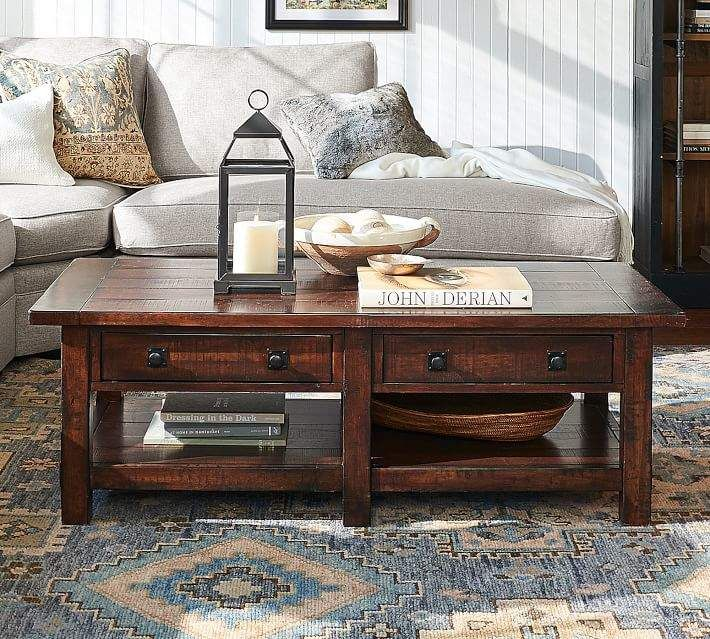Benchwright Rectangular Coffee Table Coffee Table Pottery Barn Reclaimed Wood Coffee Table Coffee Table Styling