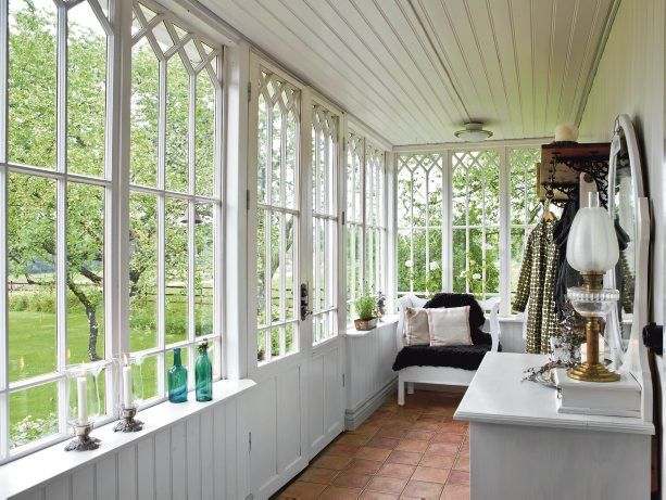 croft on the countryside in sweden   country style, porch and window