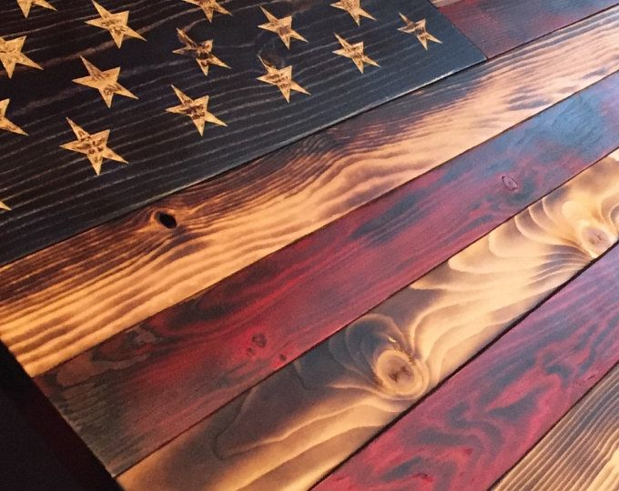 Hand Carved Rustic American Flag Rustic American Flag Wood Flag American Flag