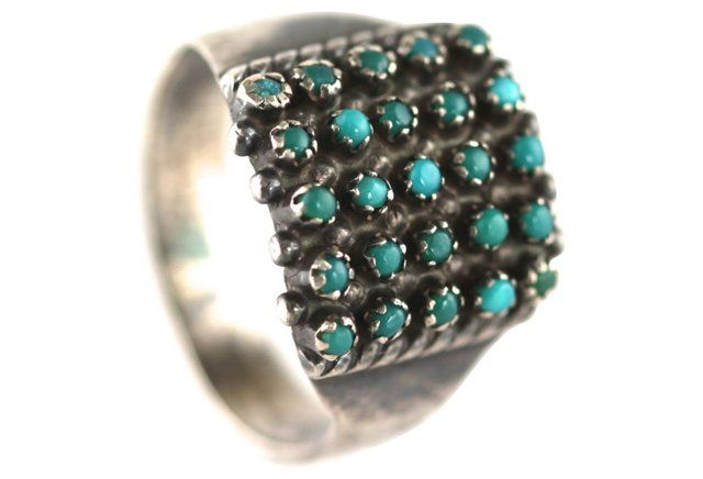 Zuni Silver Turquoise Dots Ring