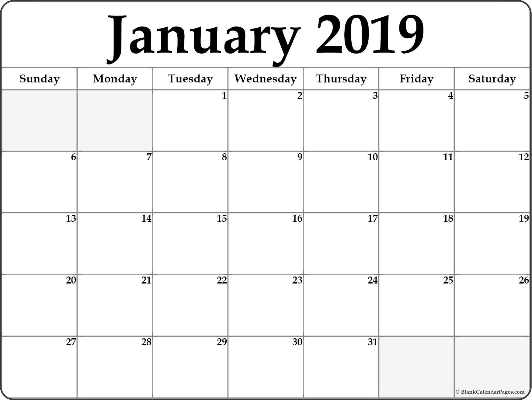 Calendar January 2019 Template Cablo Commongroundsapex Co