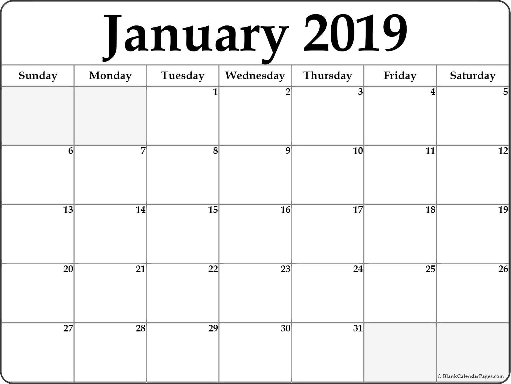 Image Result For Printable 2019 Calendar Printable Blank