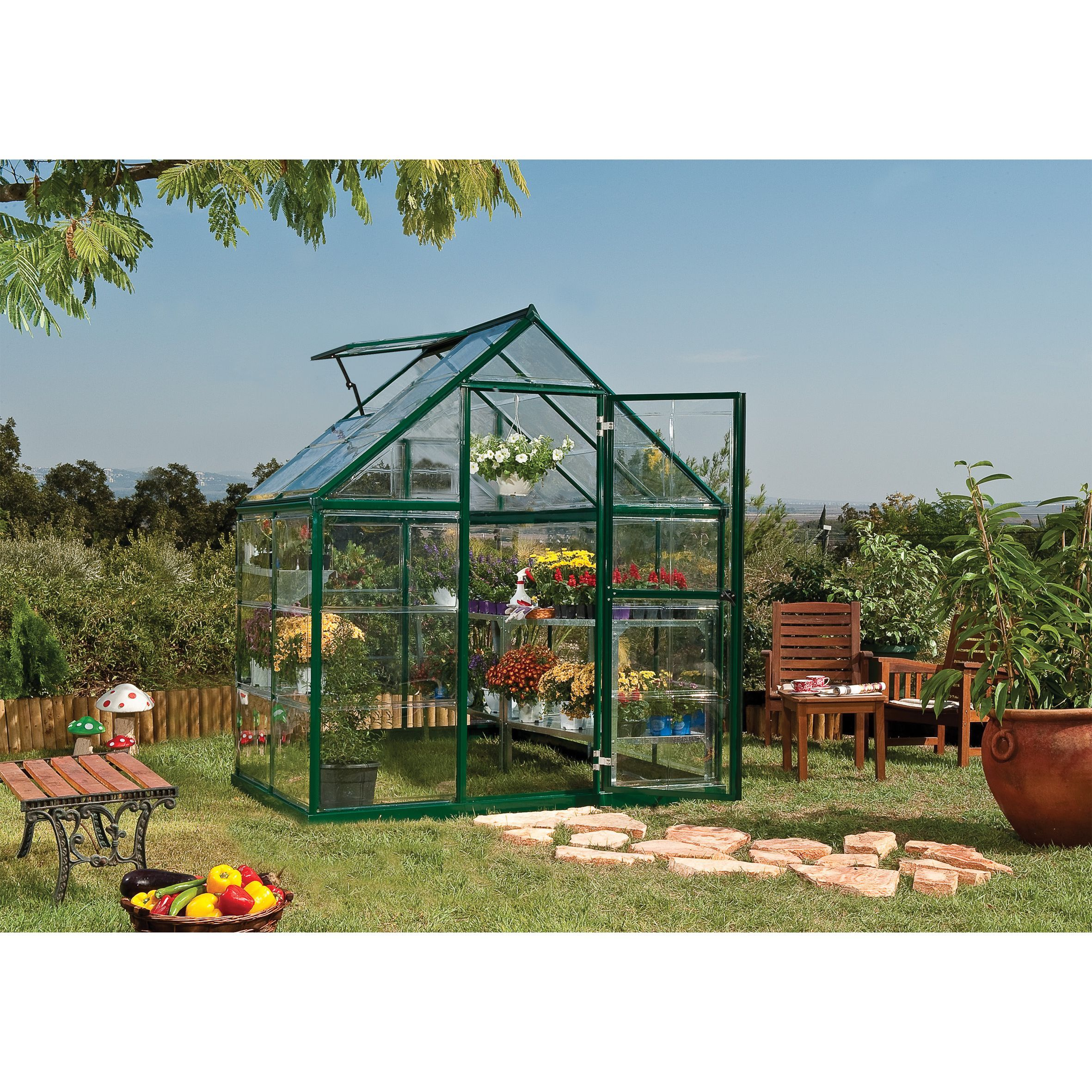 Harmony 6x4 is a smart, beautiful & sturdy structure. It's corrosion resistant & durable powder coated aluminum frame and crystal clear virtually unbreakable polycarbonate panels are practically maintenance free.