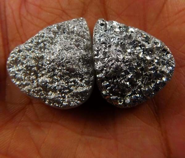 56 Cts. Natural Dyed Silver Crystal Druzy Agate Cabochan Gemstone ANE687