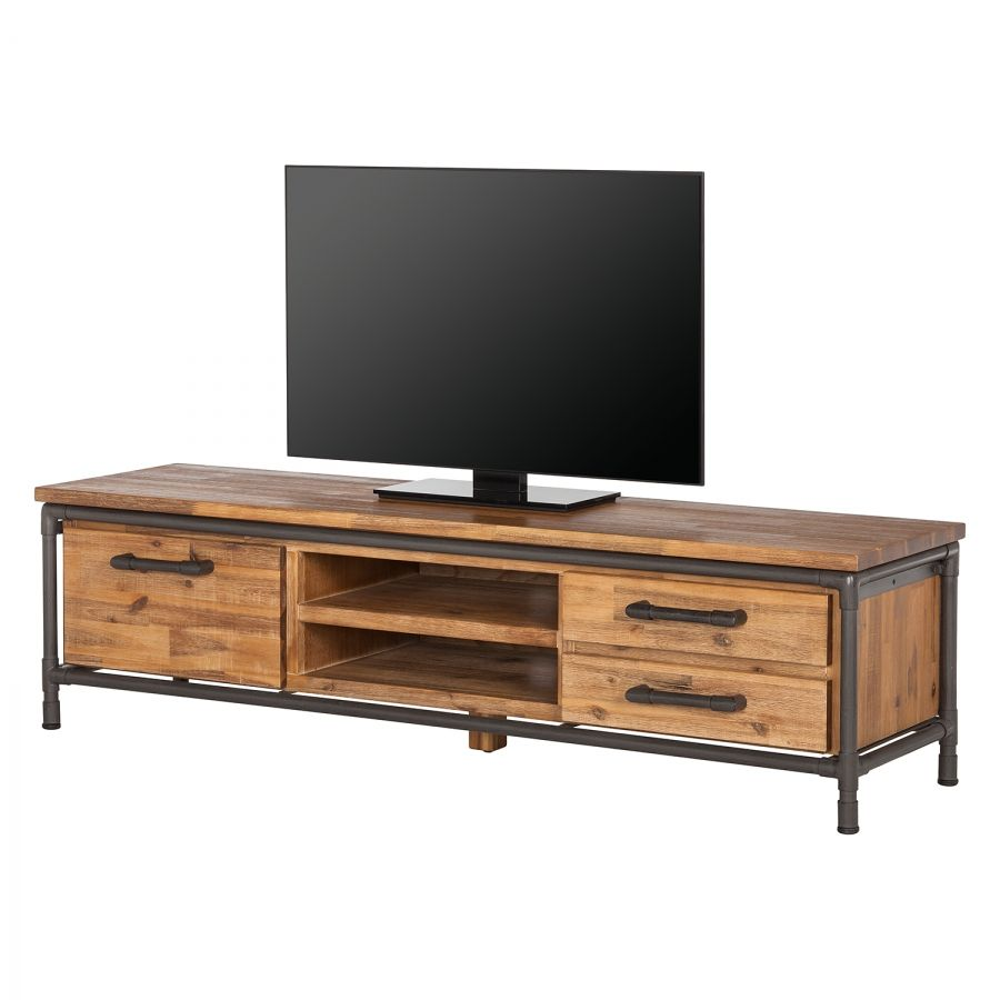 Tv Lowboard Atelier I Akazie Teilmassiv Final Pieces  # Meuble Tv Hi Fi Style Bord De Mer