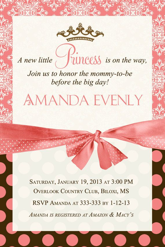 Coral & Brown Princess Baby Shower Invitation by PartyPopInvites ...