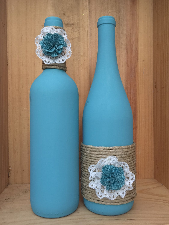 Agave blue hand painted wine bottles set