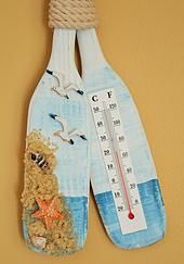 Nautical wood decorative paddle interior thermometer.
