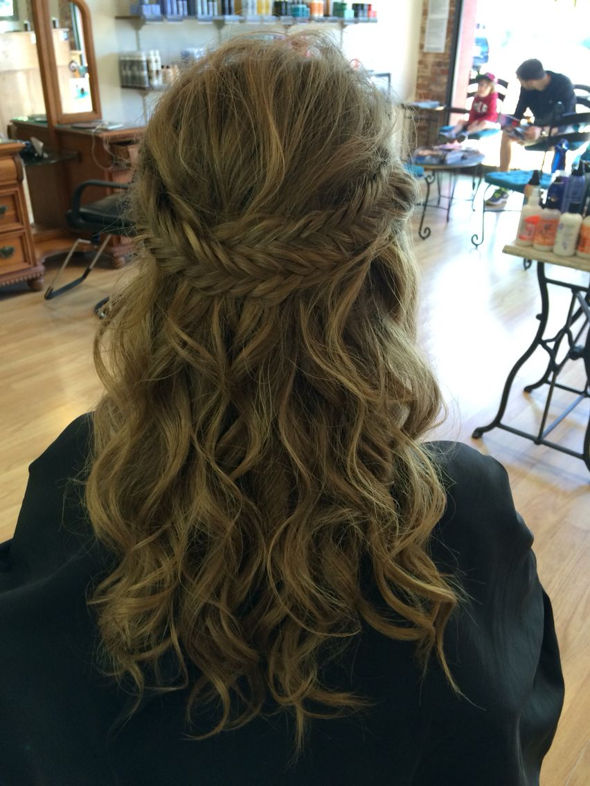 Prom hair half up medium to long hair fishtail braid curly blonde
