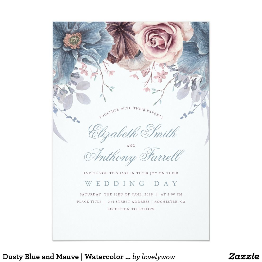 Dusty Blue And Mauve Watercolor Floral Wedding Invitation Zazzle