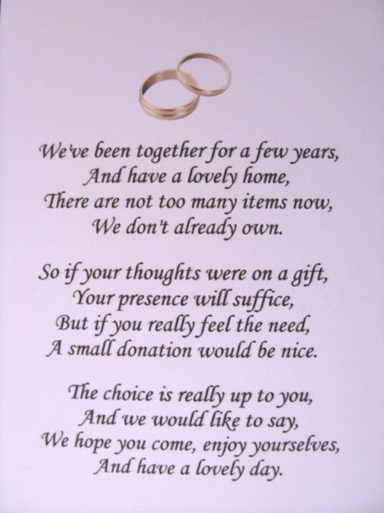 50 Wedding poems asking for money gifts not presents Ref No 1 ...
