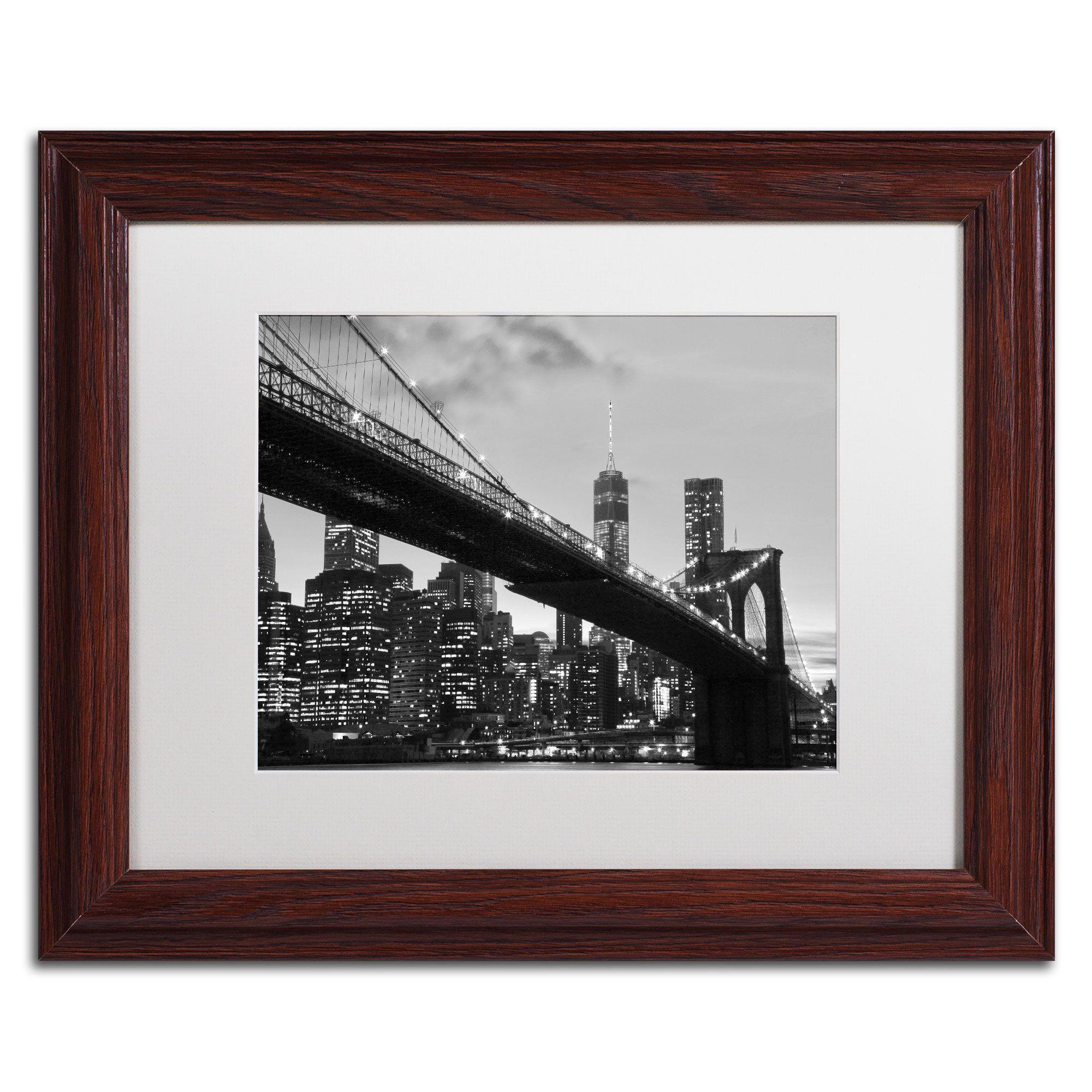 Cateyes Brooklyn Bridge 5 Matte, Wood Framed Wall Art