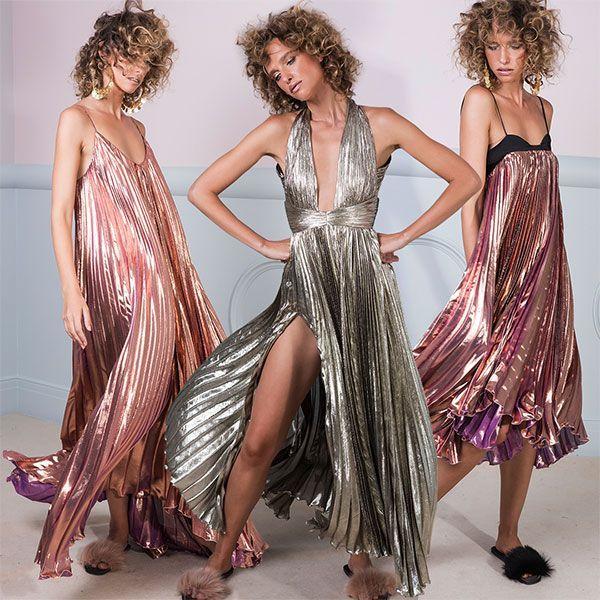 Moda Operandi rose gold dresses kleid glitzer rosegold silber