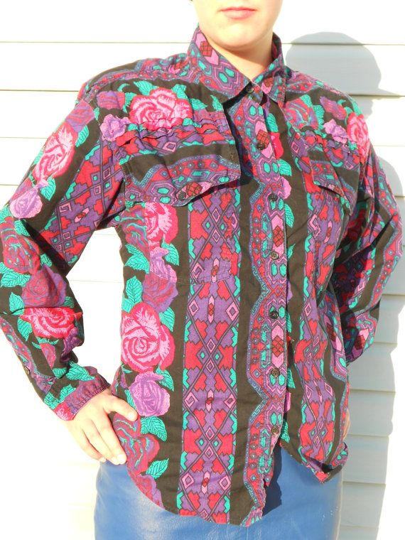 Vintage 90s Southwestern Oversized Shirt Stripped Aztec by geekusa, $16.00