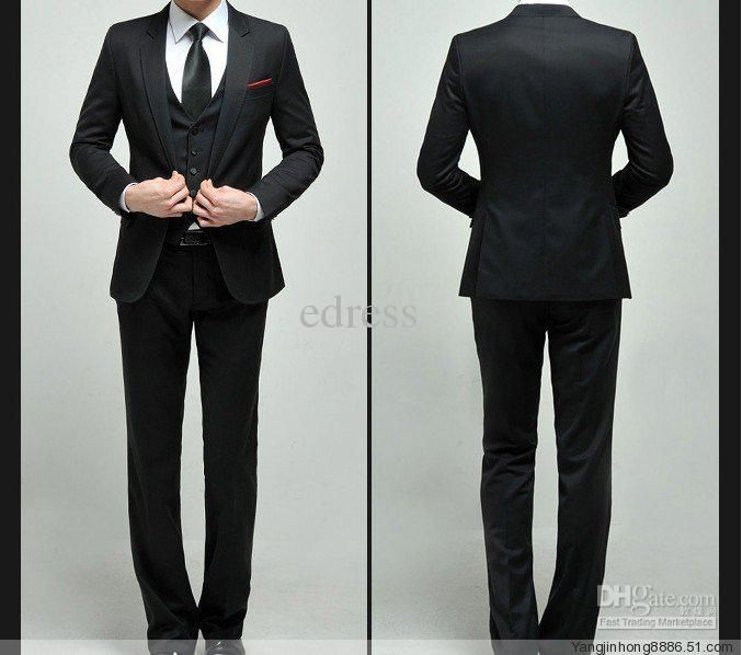 Mens Black Suit Stylish Wedding Suit Single Button wedding Dress ...