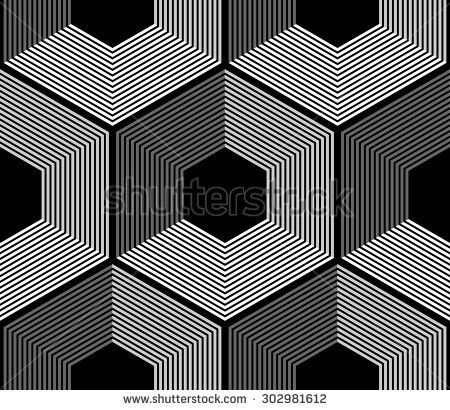 design element.  black and white hexagons seamless pattern - stock vector: