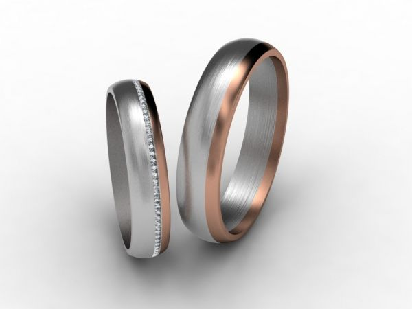 His Hers Mens Womens Matching White And Rose Gold Wedding Bands Rings Set Wide Sizes Free Engraving New