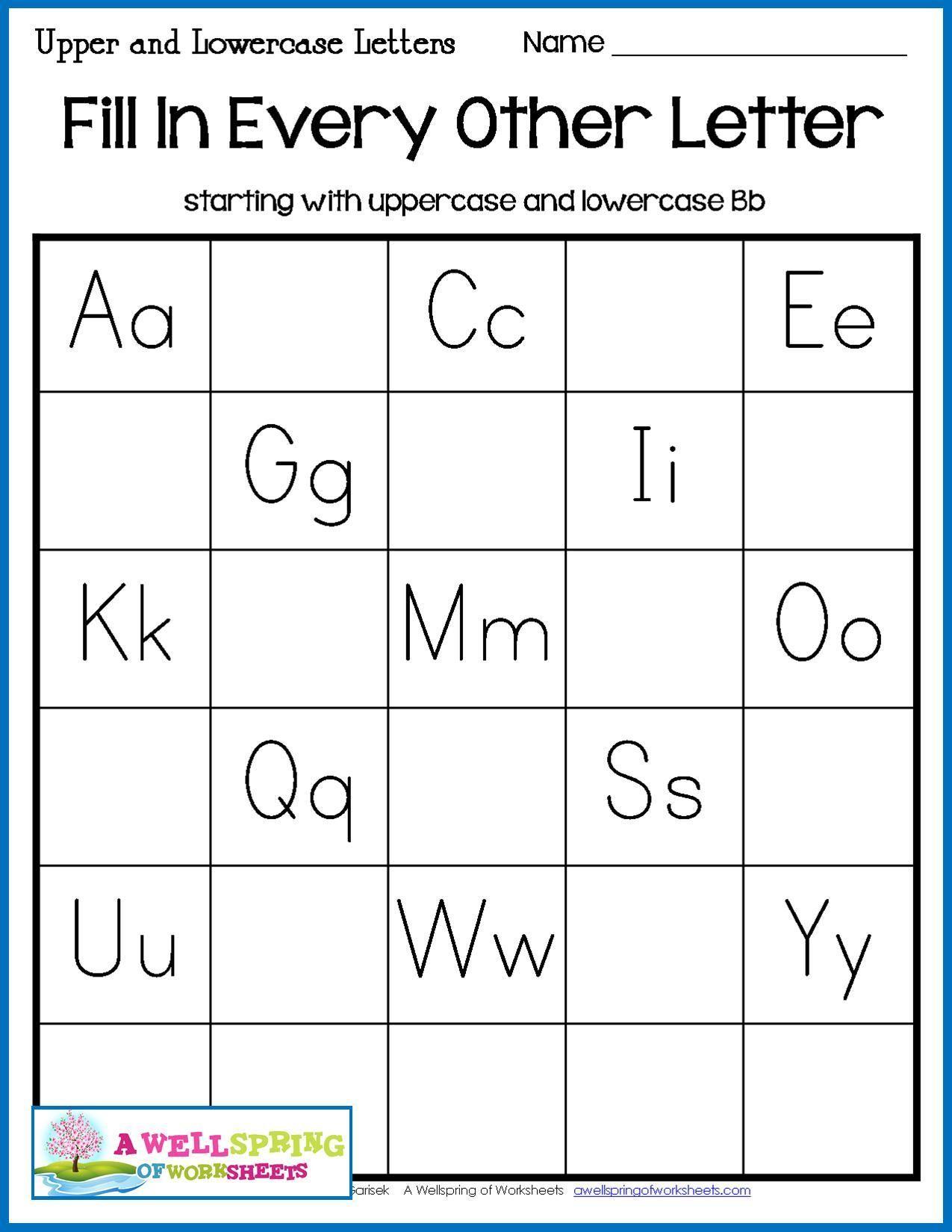Missing Letters Worksheet