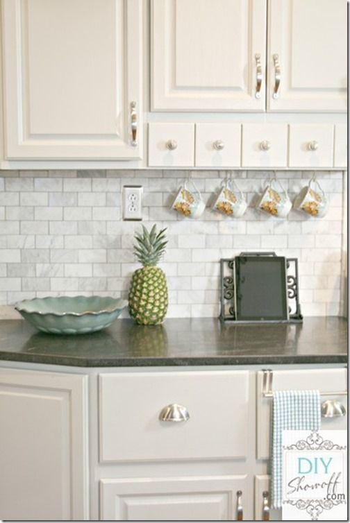 Marble Subway Tile Backsplash With Jet Mist Honed Granit, White Shaker  Cabinets, Stainless Pulls, Hanging Mugs