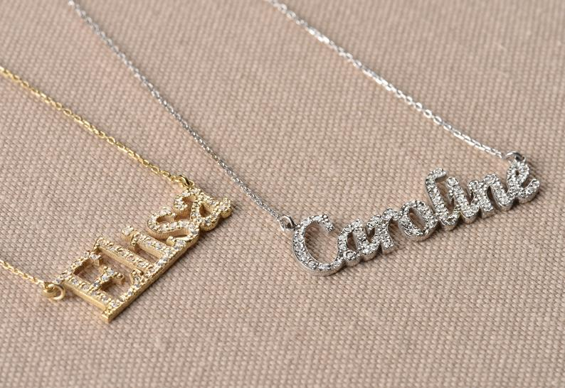 Engraved Name Personalised Gold /& Silver Cross Necklaces With Cubic Zirconia